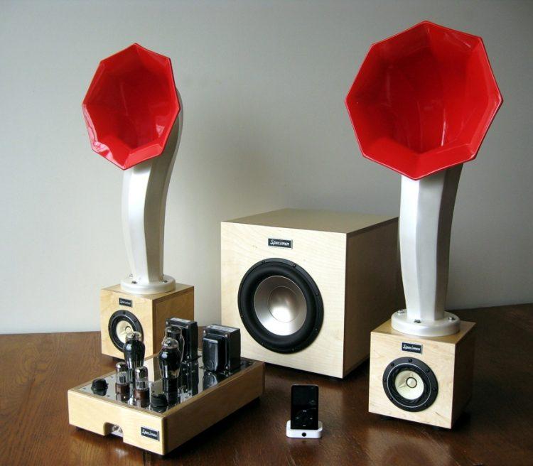 Specimen Little Horn Speakers, Hi Fi Stereo Tube Amplifier and 300-watt Subwoofer