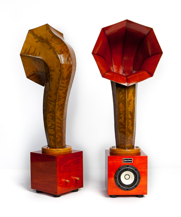 Little Horn Audio Speakers in Dark Orange