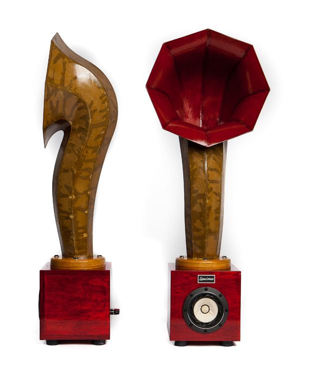 Little Horn Audio Speakers in Dark Red