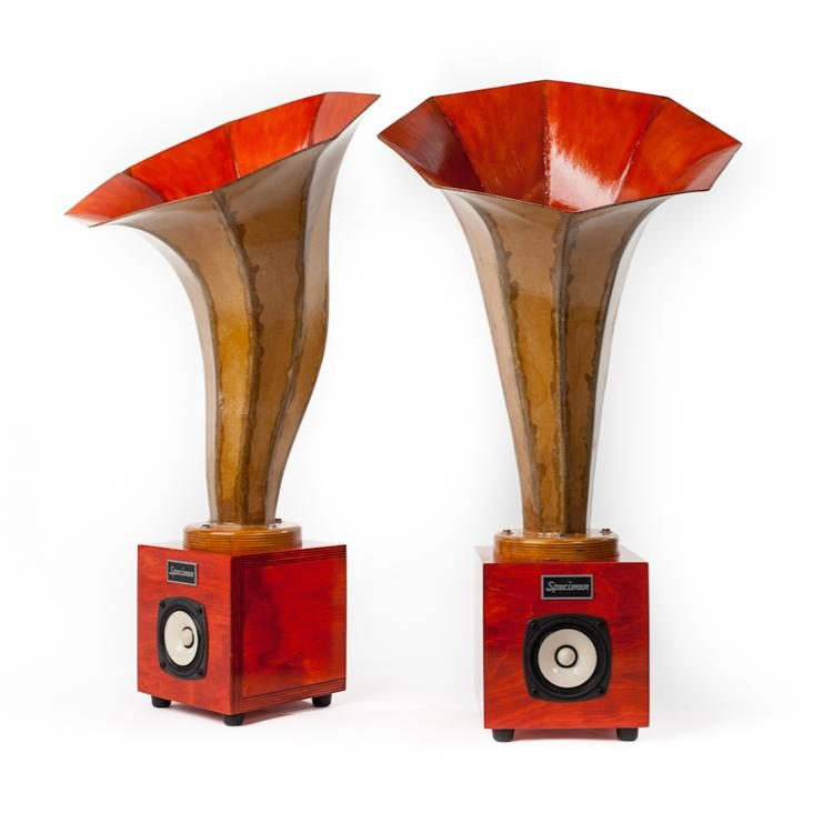 Specimen Hornling Audio Speakers in Dark Orange