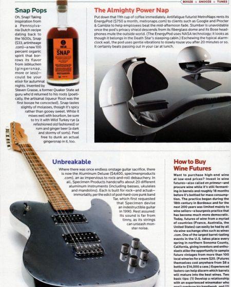Playboy Magazine October 2010 featuring Specimen Aluminum Telecaster