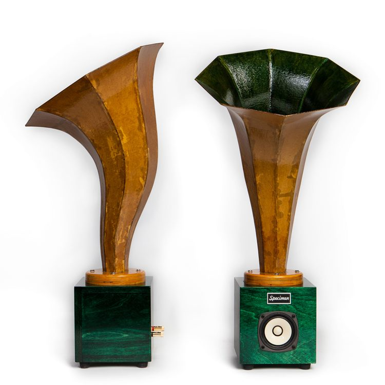 Hornling Hi-Fi Audio Horn Speakers in Dark Green