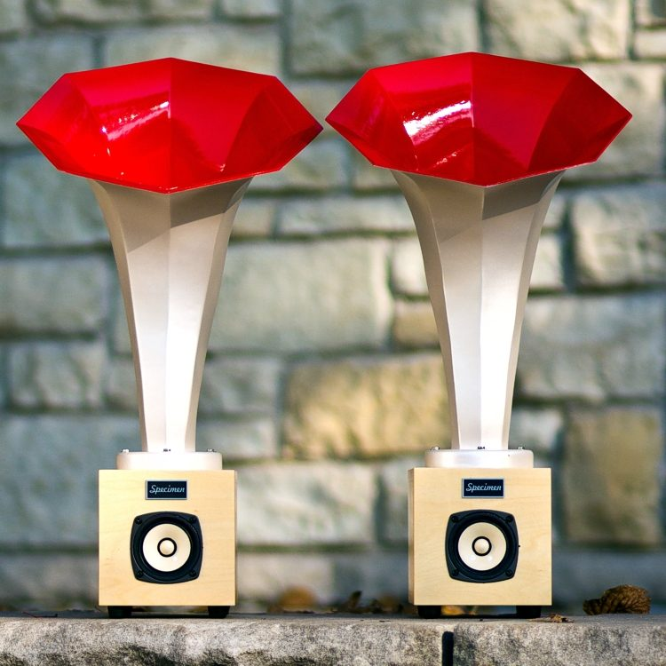 Specimen Hornling Audio Horn Speaker in Opalescent White and Red