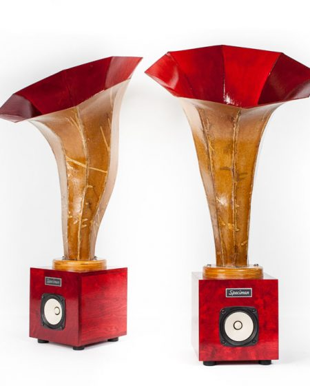 Hornling Hi-Fi Audio Horn Speakers in Dark Red