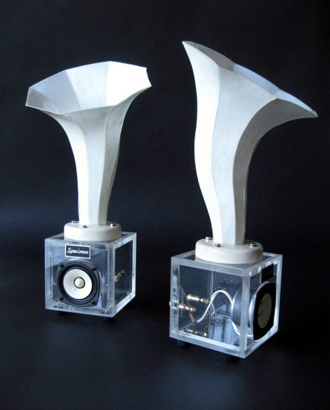 Specimen Horn Speakers created for Columbia College's Book + Paper Arts Exhibit